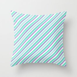 Deep Sea Green Turquoise Violet Inclined Stripes Throw Pillow