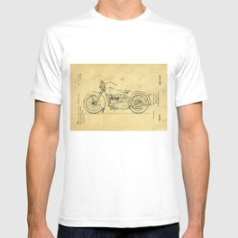 Motorcycle Support Patent Drawing From 1925 T-shirt