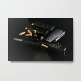 1911 Handgun with Bullets and Magazines Metal Print