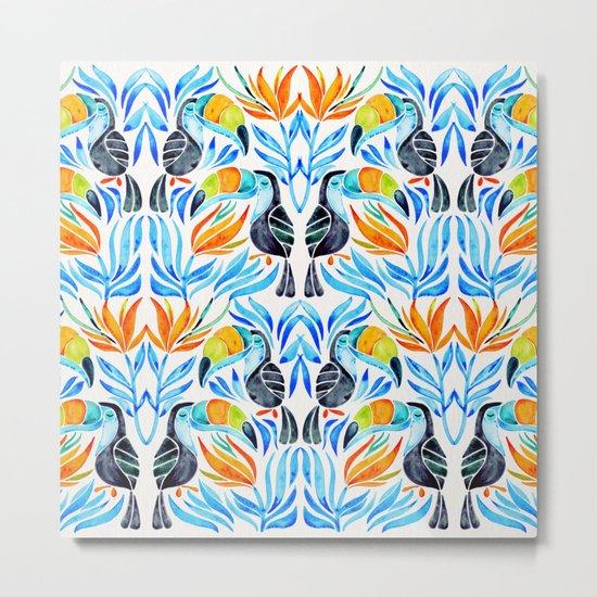 Tropical Toucans – Blue Leaves Metal Print