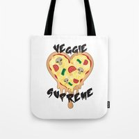 vegetarian Tote Bags featuring Veggie Supreme - Deluxe Vegetarian Heart Shaped Pizza  by MagicCircle