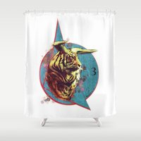 spiritual Shower Curtains featuring Spiritual Tiger by Rene Alberto