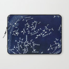 French July Star Maps in Deep Navy & Black, Astronomy, Constellation, Celestial Laptop Sleeve