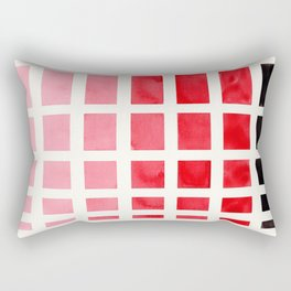 Colorful Red Geometric Square Pattern With Black Accent Mid Century Art Rectangular Pillow