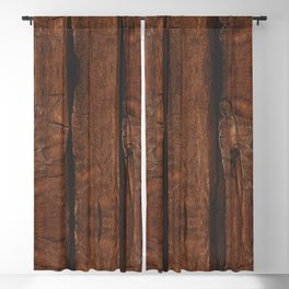 Rustic brown old wood Blackout Curtain