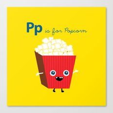 P is for Popcorn Canvas Print