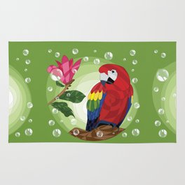 Scarlet macaw and magnolia Rug