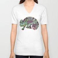 chameleon V-neck T-shirts featuring chameleon by Ruud van Koningsbrugge