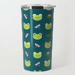 Frogs, Dragonflies and Lilypads on Teal Travel Mug