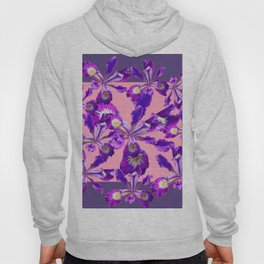 Decorative Pink Abstract Purple dutch  Iris Floral Garden Hoody