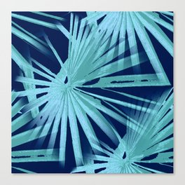 Aqua on Blue Tropical Vibes Beach Palmtree Vector Canvas Print