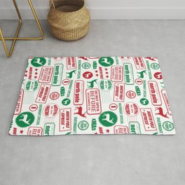 North Pole santa sleigh post office pattern reindeer print xmas holiday gifts decor Rug