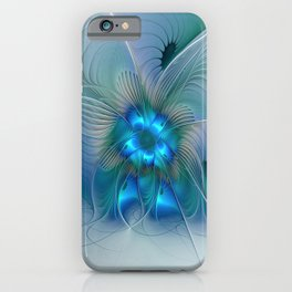 Standing Ovations, Abstract Blue Fractals Art iPhone Case