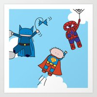 superheros Art Prints featuring Superheros by oekie