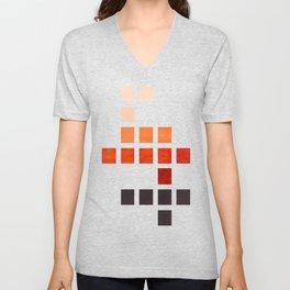 Colorful, Burnt Sienna, Mid Century, Modern, Minimalist, Square, Geometric, Pattern Unisex V-Neck