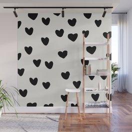 Big Hearts Brush Strokes Pattern Wall Mural