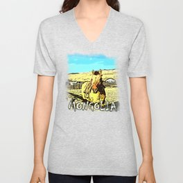 Mongolia Horse Treks (at Mountain Rubia) Unisex V-Neck