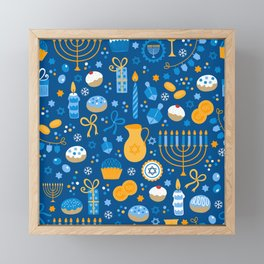 Hanukkah Happy Holidays Pattern Framed Mini Art Print