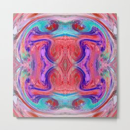 psychedelic geometric symmetry abstract pattern in red pink blue Metal Print