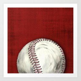 Hand painted Vintage Baseball with Aged Red Background Art Print