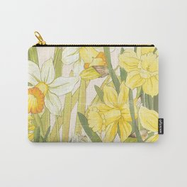 Vintage Floral Paper:  Spring Flowers on Shabby White -Daffodils Carry-All Pouch