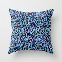 Calaveras del Dia de los Muertos azules. Throw Pillow