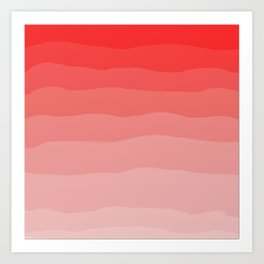 Red Strawberries and Cream Ombre Art Print