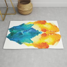 Blue Ikat Explosion Watercolor Rug