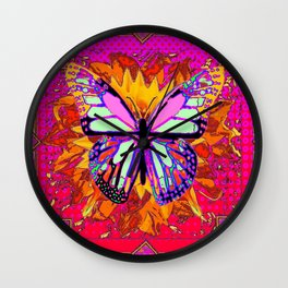 Rainbow Colored Butterfly On Red-fuchsia Sunflower Floral  Wall Clock