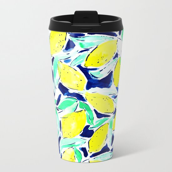 Bold Lemons Blue Metal Travel Mug