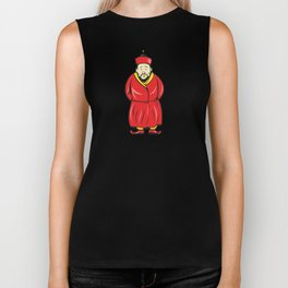 Chinese Asian Man Wearing Robe Cartoon Biker Tank