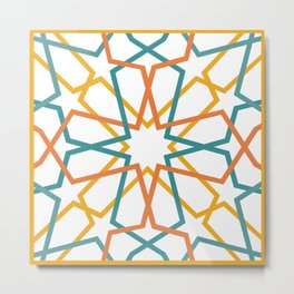 Orange Yellow Turquoise Geometric Tile Pattern Metal Print