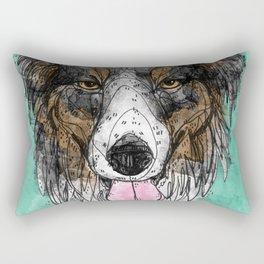 Black Tri Aussie Rectangular Pillow