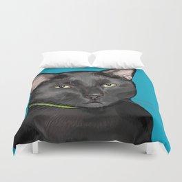 Black Cat Portrait Duvet Cover
