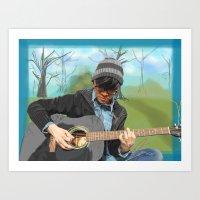 Guitar in the Park Art Print