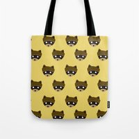 wes anderson Tote Bags featuring Wes Racoon by mleko