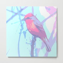 BIRD CARDENAL PASTEL Metal Print