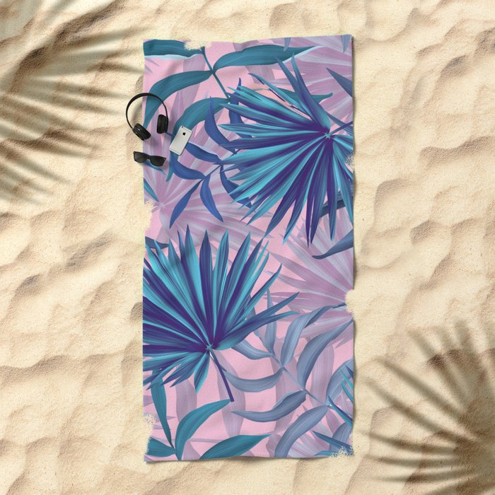 pink tropic  Beach Towel