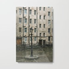Lamppost and the Falling Snow Metal Print