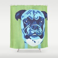 boxer Shower Curtains featuring Boxer by mkfineart