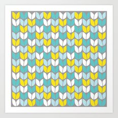 Tulip Knit (Aqua Gray Yellow) Art Print