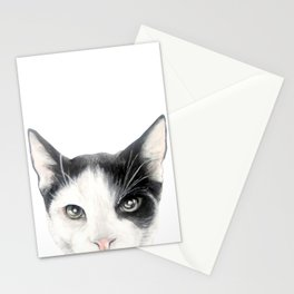 Cat, black and whiteDog illustration original painting print Stationery Cards