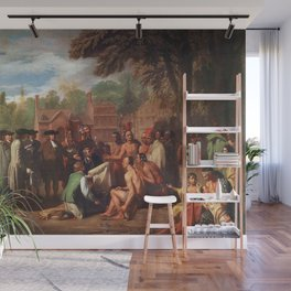 Classical Masterpiece 'The Treaty of Penn with the Indians' by Benjamin West Wall Mural