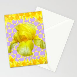 ABSTRACT YELLOW SPRING IRIS GOLDEN DAFFODILS FRAME Stationery Cards