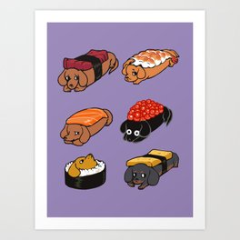 Sushi Dachshunds Art Print