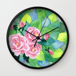 Pink Peonies and Green Leaves Watercolor and Gouache Painting Wall Clock