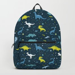 Space Dinosaurs in Bright Green and Blue Backpack