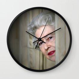 QUEEN ELIZABETH PEEK A BOO Wall Clock