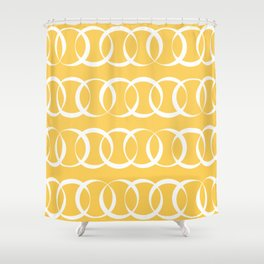 Yellow and white elegant intersecting circles pattern Shower Curtain