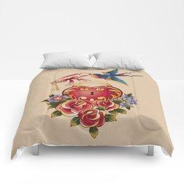 Old school True Love Lock and Key tattoo Comforters